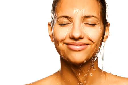woman face with water drop Stock Photo