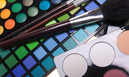 eyemakeup: multicolored eye shadows Stock Photo