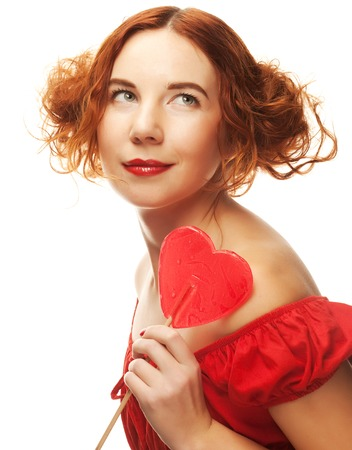 redhair woman with big heart caramel
