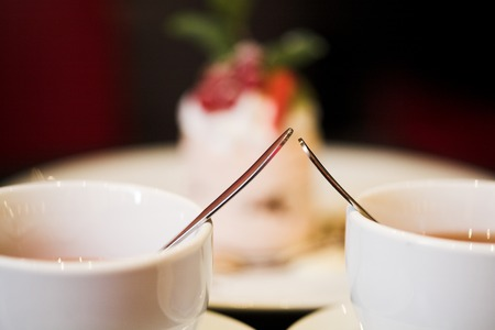 rooibos: dessert and a cup of coffee close up Stock Photo
