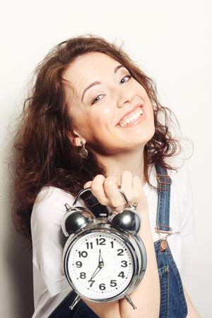 alarmclock: woman with alarmclock