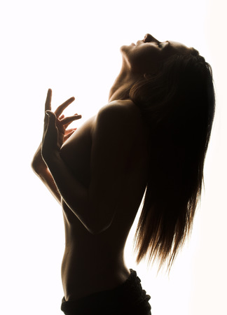 Nude girl over white background