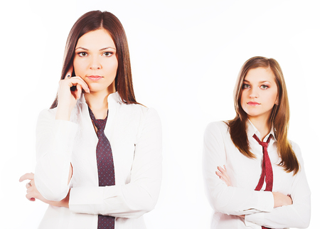 customer service representative: two business woman on white background Stock Photo