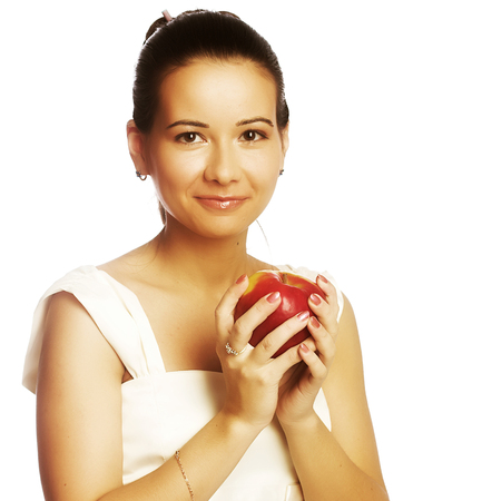 smiling woman with red apple.