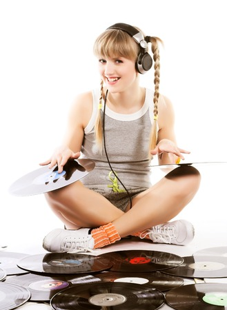 pretty young girl  with vinyl records 版權商用圖片