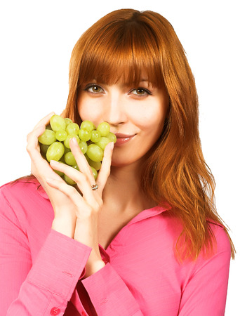 young woman with green grape Stock Photo