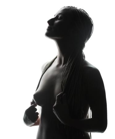 Hermosa mujer en topless Foto de archivo - 87052923