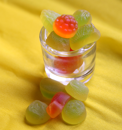 yellow teeth: sweet colored confectionery beans for the kids