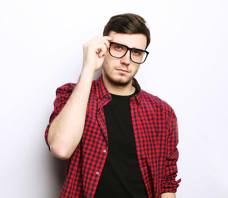beautiful young man wearing glasses Stock Photo