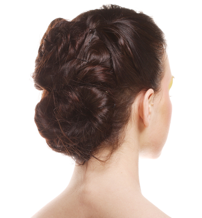 hairstyle dark. back view.