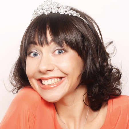 happy  woman with diamond crown