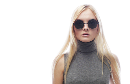 young blond woman with sunglasses