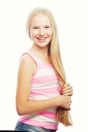 Beauty teen girl. Healthy long hair.