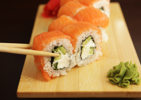 Japanese sushi close up picture Stock Photo