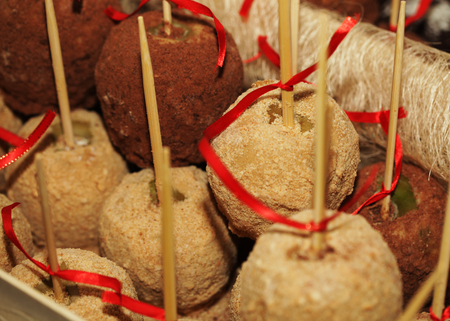 Tray full of caramel and candied apples. Stock Photo