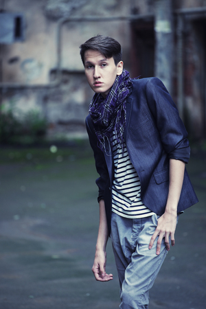 young fashion man in casual wear.