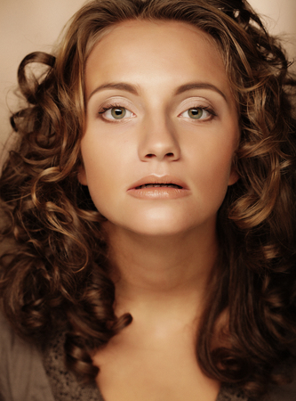 young woman with cury hair