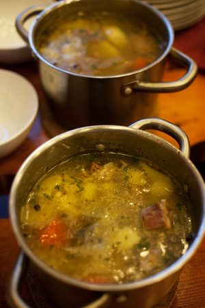 freshly cooked soup in a pot