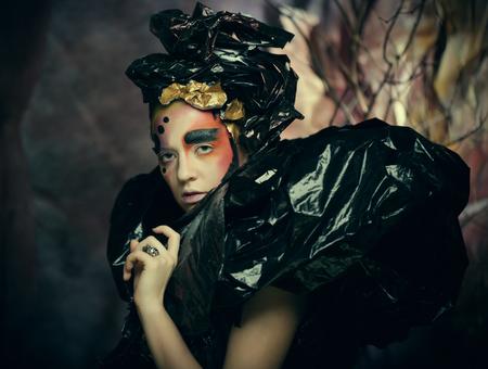 Dark Beautiful Gothic Princess.Halloween party concept.