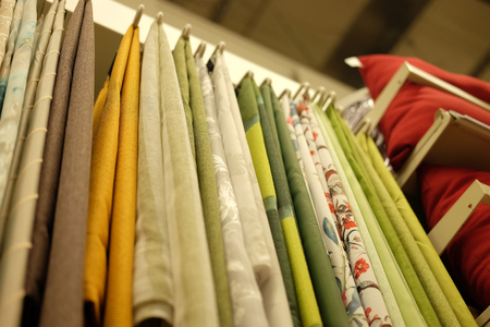 Sale! colorful fabrics in the store.