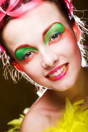 face of a girl with creative visage Banque d'images - 124788130