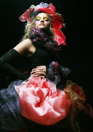 Fashion shot of woman in doll style. Stockfoto