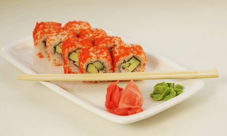 sushi rolls , close up picture, food concept