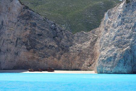Blue caves on Zakynthos island, Greece, travel concept