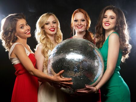 lifestyle, party and people concept - Group of partying girls with disco ball, happy and smile