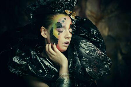 Dark Beautiful Gothic Princess. Close up. Halloween party concept.