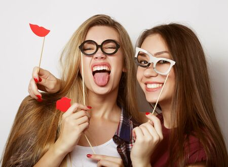 hipster girls best friends ready for party, over white background