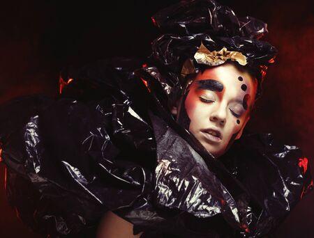 Dark Beautiful Gothic Princess. Halloween party. 写真素材