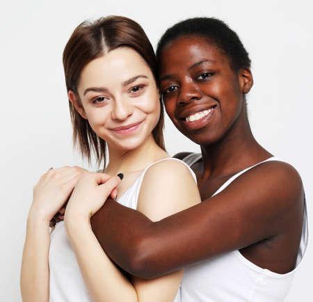 Shot of happy interracial couple hugging