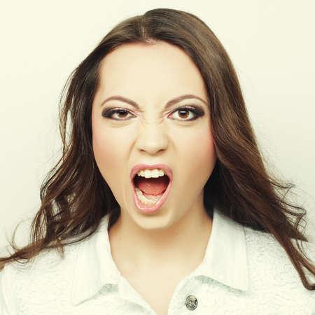 Beautiful young surprised woman. Foto de archivo