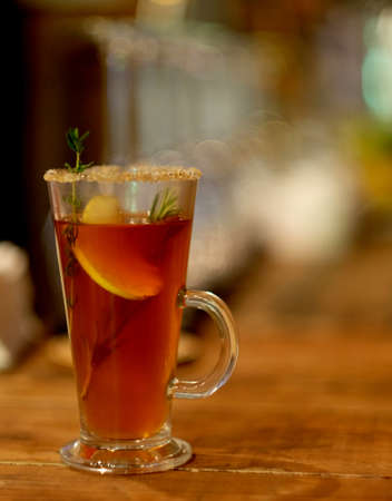 hot tea drink warming cinnamon herb cocktail