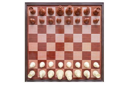 Image of chess on a white background. World Chess Day. International Chess Day. July 20. View from above. Isolate