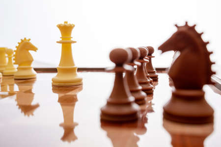 Image of chess pieces on a chessboard. World Chess Day. International Chess Day. July 20. Side view. Closeup. White background. Focus on the back figures