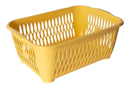 Yellow plastic basket. Empty basket. Isolated. White background. Side view