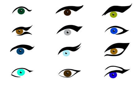 Set of various eyes and eyelines