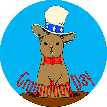 Cute groundhog in the hat