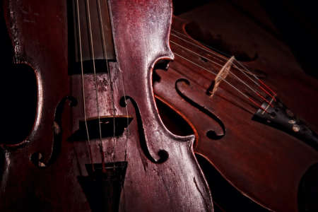 Still life of a pair of antique violins
