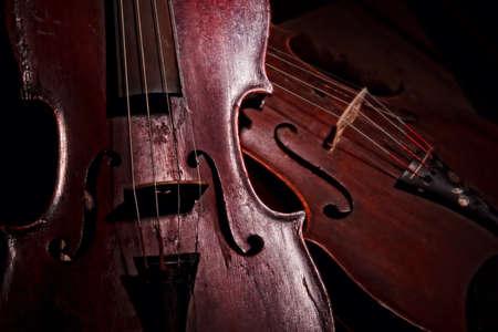 Still life of a pair of antique violins
