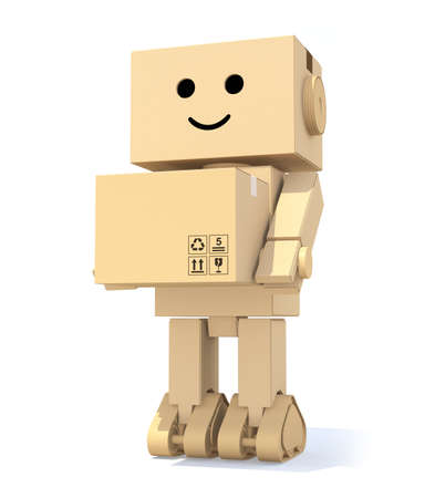 Cute cardboard robot carrying a box photo