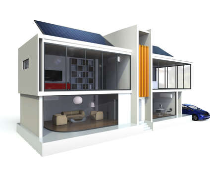 Energy efficient apartment with solar panels system photo