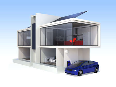 electric meter: Stylish apartment with solar panel systems