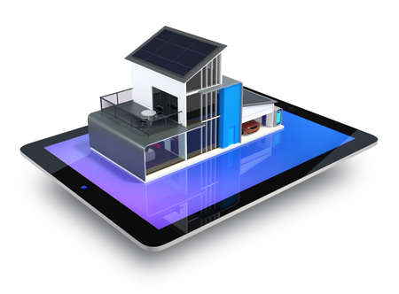 power house: Energy efficient apartment with solar panels system on tablet screen  Clipping path available  Stock Photo