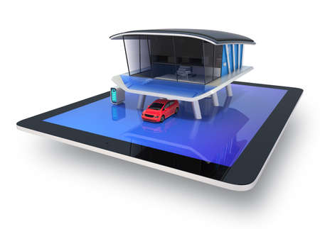 Stylish futuristic design house on a tablet screen  with solar panel, home battery system, electric car  clipping path available Stock Photo - 20381328