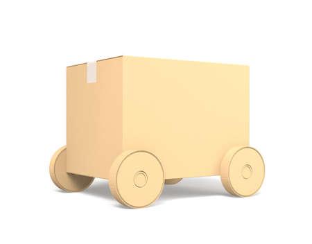 白い背景で隔離の段ボールの箱車
