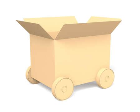 白い背景で隔離の車輪で段ボール箱を開く 写真素材