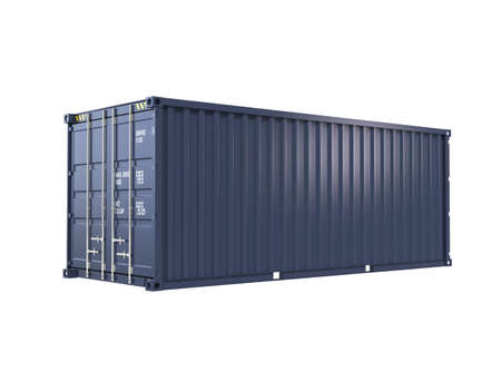 merchandize: Single blue cargo container with clipping path